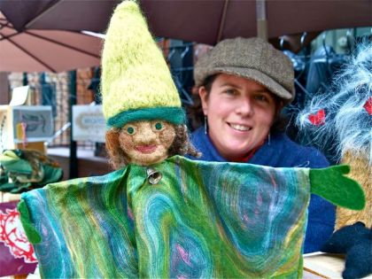 Amy Godard shows her puppets, salves, and folk art at the Lithia Artisans Market of Ashland.