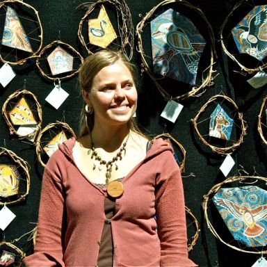 New member of the Lithia Artisans Market, Mara Jackson, shown here with her Aboriginal Dream Time inspired art.
