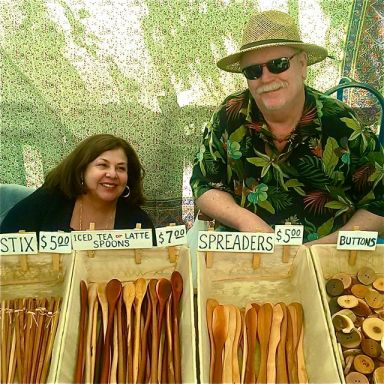 Trace Taber (aka The Spoon Man) and his wife Lydia. Regulars at Lithia Artisans Market. The best handcrafted spoons and ladles on the planet.