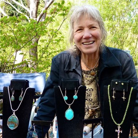 Lynn Powell of Greensprings Silver and Gems is a regular at Lithia Artisans Market. Her and her husband William Garrett collect many of the stones they use in their jewelry.