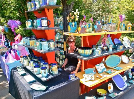 Alissa Clark Clayworks is one of the most colorful pottery booths you will ever see. Weekends at Lithia Artisans Market.