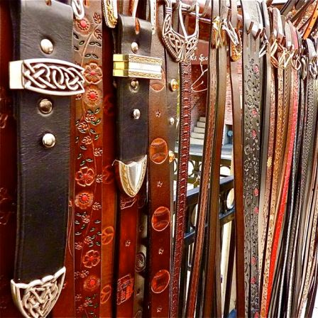 "Awesome belts by Gene Nawrocki. The ""belt-man"" is back at Christmas Faire, Thanksgiving Weekend."