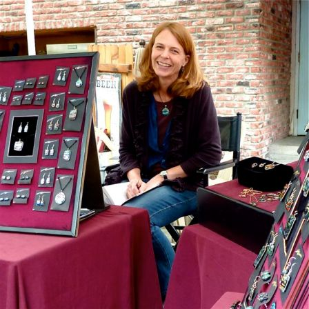 Diane Berry is a regular at Lithia Artisans Market. Her dichroic glass jewelry is stunning. Weekends along Ashland Creek, behind the plaza in downtown Ashland, Oregon.