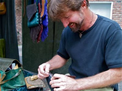 Dave Summers of Elf Mountain Leather. The Artisan of The Week at Lithia Artisans Market of Ashland.