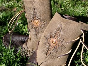A sample pair of Elf Mountain Boots by Dave Summers. This weeks featured artisan.