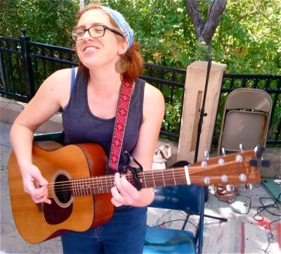 Bekkah McAlvage brings her original tunes to the market this coming Sunday, May 17th from 2:30-4:30.
