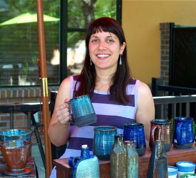Potter Lisa Eldridge is one of our newest members at Lithia Artisans Market. Weekends along Ashland Creek.