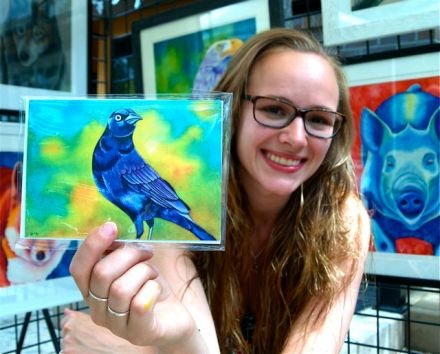 Rachel Fisher a wonderful artist at Lithia Artisans Market, Ashland, Oregon.