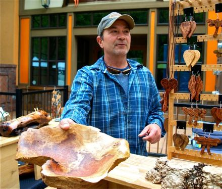 Larry Shinerock is a regular at Lithia Artisans Market of Ashland. His bowls, cribbage boards, light switch plates, and jewelry are remarkably well crafted. Saturday 10-6, Sunday 11-5.