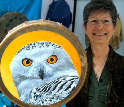 Marta Quest, Native American Style Drums, Lithia Artisans Market of Ashland, Oregon