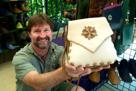 Dave Summers is an outstanding leather worker at Lithia Artisans Market of Ashland.