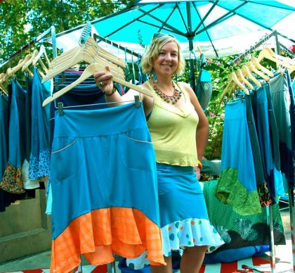 Lindsay Evans shows most Saturdays with her hand made clothing at the Lithia Artisans Market of Ashland, Oregon.