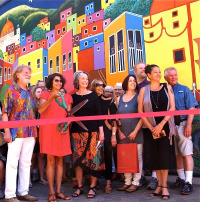 "This was the Ribbon Cutting Ceremony for the newly unveiled mural titled ""Las Calles de Guanajuato"" at the entrance to the Lithia Artisans Market of Ashland, Oregon(LAMA)."