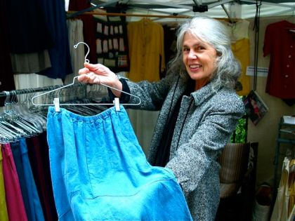 Rose Gerstner is a clothing designer and seamstress at the Lithia Artisans Market of Ashland (LAMA). Her small business is called Sympatico Clothing.