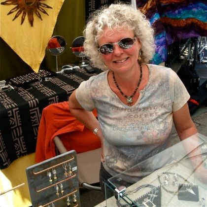 Sabine Collings is a Jeweler at the Lithia Artisans Market of Ashland, LAMA.