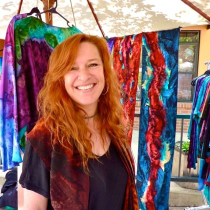 Marcella Rose, hand painted silk, Lithia Artisans Market Ashland, LAMA